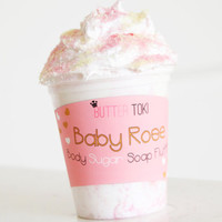 Baby Rose Whipped Sugar Soap - Body Sugar Soap Fluff 8oz - Rose Soap - Rose Scrub