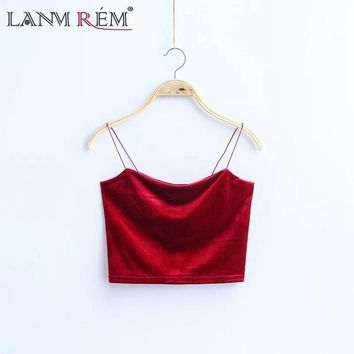 LANMREM 2018 New Women Fashion Korea Style Red Black Solid  Color Velvet Short Section Sexy Camisole Female Tie F80903