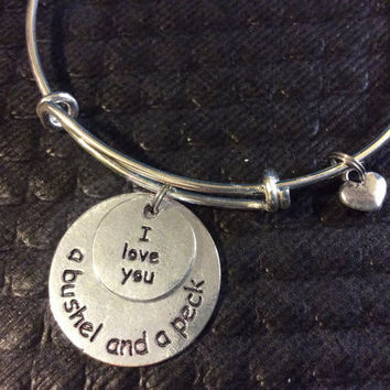 I Love You a Bushel and A Peck Stamped Silver Charm Adjustable Expandable Wire Bangle Charm Bracelet Trendy Gift