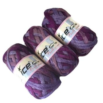 Lot 3 Ice Yarns Ballerina Lilac Rose Pink Purple Ruffle Scarf Bulky Yarn 20672