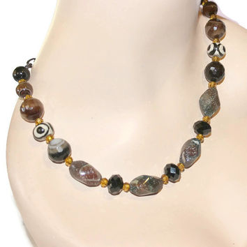 Beaded Gemstone Necklace With Chain, Agate Necklace, Multi Stone Necklace, Coffee Necklace