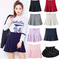 candy colors Skirts 2016 Women's Pleated Plus Size Uniforms Skirt For Women Students Solid Tennis skirts