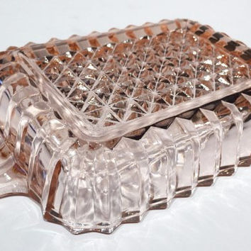 Pink Depression Glass Relish Dish, Vintage Vanity Tray