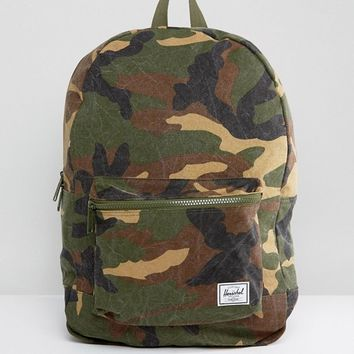 Herschel Supply Co Washed Cotton Camo Canvas Daypack Backpack at asos.com