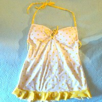 White and yellow polka dot tankini top