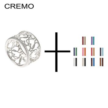 Cremo Romantic 925 Sterling Silver Hollow Love Heart Finger Rings For Women Bijoux Femme Reversible Leather Set Belt