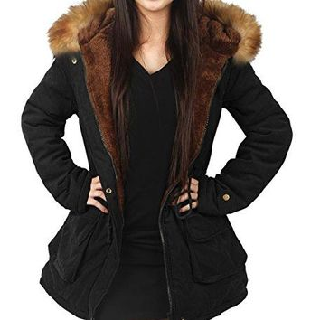 4How Womens Parka Jacket Hooded Winter Coats Faux Fur Coat Outdoor Army Green Black  Kensington Parka Coat