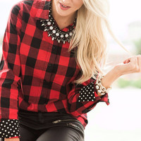 Women Red Plaid Polka Dots Lined Turn-down Collar
