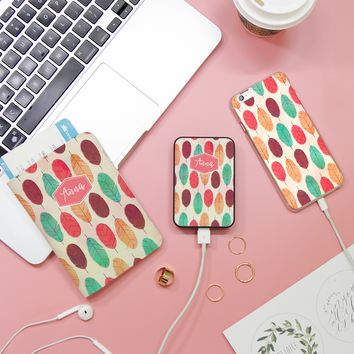 Boho Colorful Feathers Combo Passport Holder, Power Bank and Phone case
