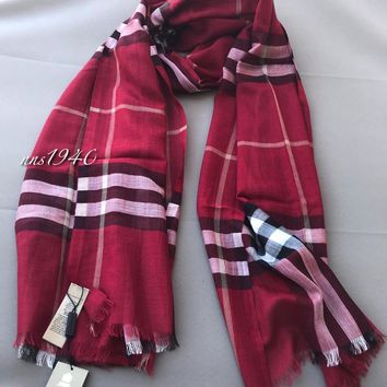 Burberry Check Scarf Lightweight Wool / Silk / Parade Red NWT!