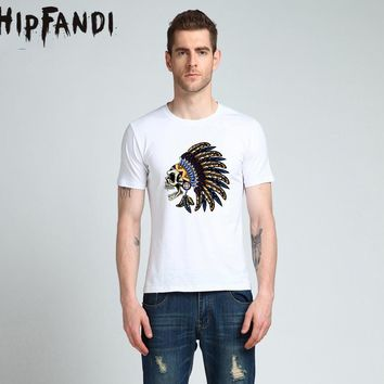 HIPFANDI 2017 Men Summer Novelty 3D Printed T-Shirts Popular Tops Indian Skull Heads T-Shirts High Quality Cotton Tee Shirts