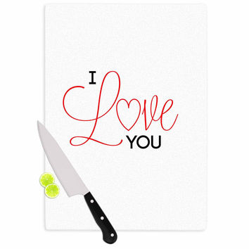 "NL Designs ""I Love You"" White Red Cutting Board"