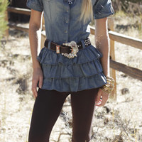 Western Jean Top | Elusive Cowgirl - Western Wear, Cowgirl Clothing, Cowgirl Sunglasses