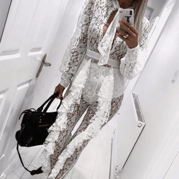 Night Owl White Lace Bandage Jumpsuit Set