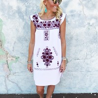 Veracruz Dress- White/Maroon