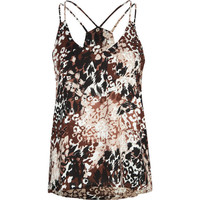 Full Tilt Essential Double Strap Womens Tank Brown Combo  In Sizes