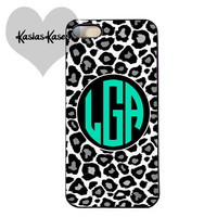 Leopard Monogrammed initials phone case