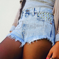 Levis High waist acid wash studded jeans shorts by Jeansonly