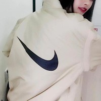 NIKE Fashion Women Men Loose Zipper Cardigan Jacket Coat I