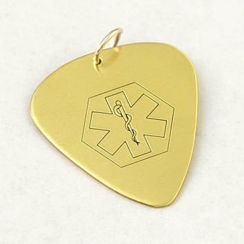 Medical Alert Brass Guitar Pick with Personalized Alerts - GPM4121