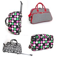"21"" Rolling Duffle Bag Carry on Suitcase Luggage and Gym Bag Great Colors & Prints"