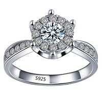 Hollow white  Engagement Ring For Women