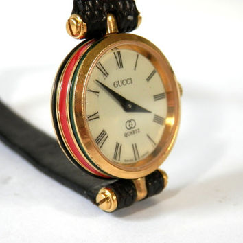 Gucci Ladies Watch Red Green Enameled Striped Case  All Original