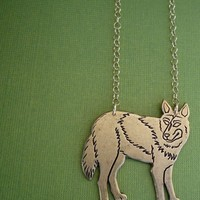 golden wolf necklace with 14kt gold filled chain