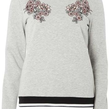 Grey floral embroidered sweat - Tops & T-Shirts - Clothing