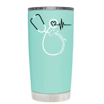Nurses Stethoscope Black Personalized on Seafoam 20 oz Tumbler Gift Cup