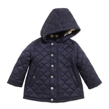 Lightweight Quilted Jacket with Hood, Navy, 6-18 Months, Size: