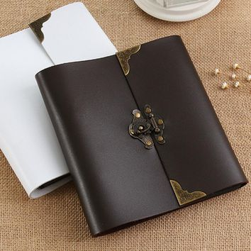 2016 New Three Size S M L Literary DIY retro leather photo album Paste handmade baby couple album Polaroid album hot sale