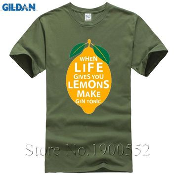 Hip Hop Tee Shirt Short Sleeve Men Gift When Life Gives You Lemons Make A Gin And Tonic O-Neck Shirts Hipster Tops Tees S-6XL