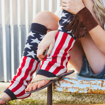 American Flag Leg Warmers 4th of July Fashion by ThreeBirdNest