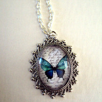 Original Watercolor Butterfly Pendant with Link Chain - Ocean