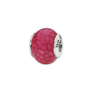 Fuchsia Cracked Agate Stone Bead & Sterling Silver Charm, 13mm