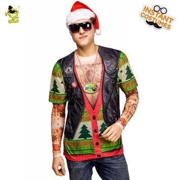 2018 Men's Fake Chrismas T-shirt Costume Cosplay Carnival Party 3 D Cool Jacket T-shirt Suits Santa Claus On Christmas Tees