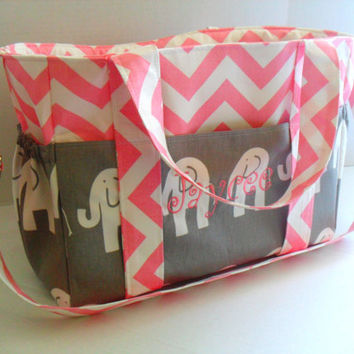 Personalized Extra Large Chevron Diaper bag Gray Elephant Fabric / Elastic Pockets - Chevron Diaper Bag - Diaper Bag - Pink Diaper Bag