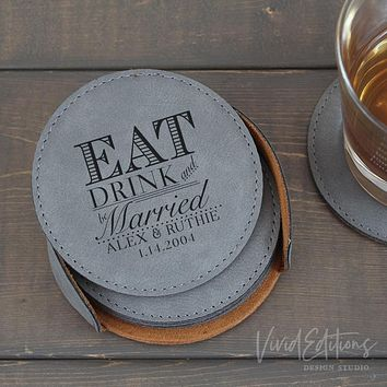 Personalized Round Leather Coaster Set of 6 - Gray CB11