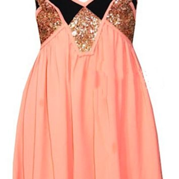 Ashley Mini Sequined Doll Dress - Coral