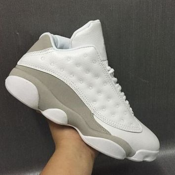 Air Jordan Retro 13 Low Pure Money Men Basketball Shoes 13s Low White Grey Athletics S