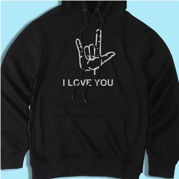 I Love You American Sign Language Valentines Day Men'S Hoodie