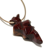 Men's Wooden Necklace, Carved Arrowhead Necklace, South American Bloodwood, Gifts Under 20