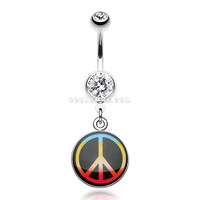 Rasta Jamaican Peace Belly Button Ring (Clear)