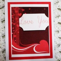 Red with Heart with Love You Card, 4.25