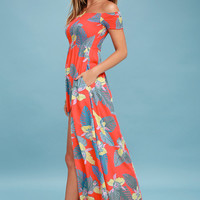 Patsy Coral Red Floral Print Off-the-Shoulder Dress