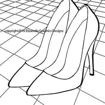 womens high heel shoes coloring page checkers floor fashion coloring pages digital stamp, digi stamp coloring book page download printables