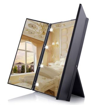 Tri-Fold Lighted Travel Makeup Mirror Led Folding Mirrors Illuminating Foldable Mirror
