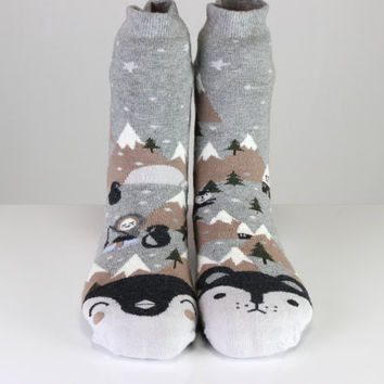 Penguin Socks Eskimo Fishing Mountain Socks Gray Socks Cute Socks Girls Socks Women Socks Funny Socks Ankle Socks Animal Socks Fun Socks