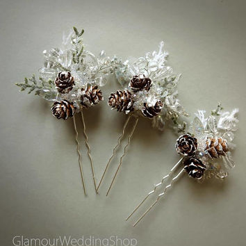 Pine Cone Hair Pins Winter Wedding Bridal Woodland Wedding Hair Accessory Wedding Hair Comb